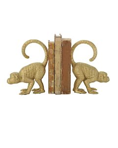BOOKENDS MONKEY GOLD