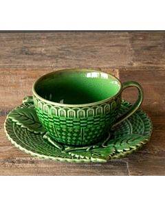 CUP & SAUCER GREEN GLAZED
