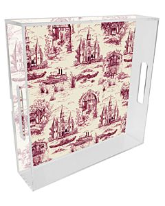 TRAY LUCITE TOILE CLARET 12X12